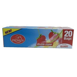PROMO QUART SIZE FREEZER DOUBLE ZIPPER BAG 12/20ct