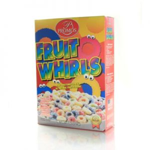 PROMOS FRUIT WHIRLS CEREAL. ( like Froot Loops.) 12/8oz.