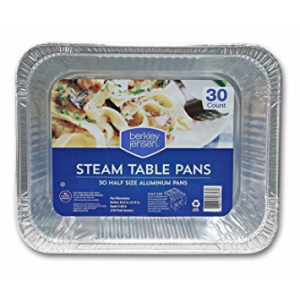 Berkley & Jensen Half-Size Steam Table Pans -  30 Pack